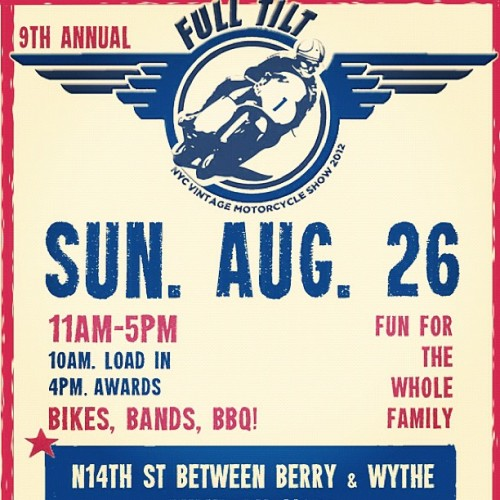 Everyone should check this out tomorrow. #fulltilt vin moto show. Rad bikes, rad people, lots of brews!! (Taken with Instagram)
