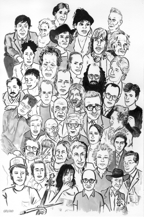 Where's Glasso? – can you spot composer Philip Glass among his many collaborators over the years, including David Bowie, Martin Scorsese, Woody Allen, Franz Kafka, and Eadweard Muybridge? Illustration by Nathan Gelgud. Answers below.