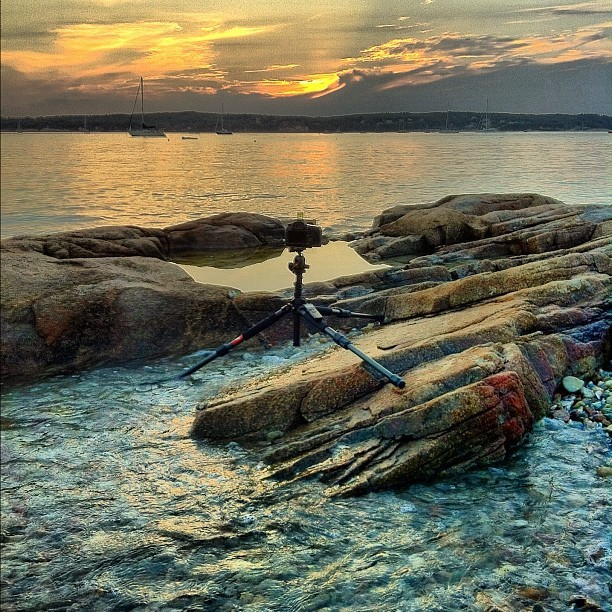 My setup from tonight. Niles Beach in Gloucester, MA. #iphone #induro #tripod #behindthelens  (Taken with Instagram at Niles Beach)
