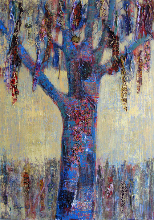 red-lipstick:  Jamal Toomaj (Iran) - God Tree, 2012          Mixed Media, Fabric/Textiles