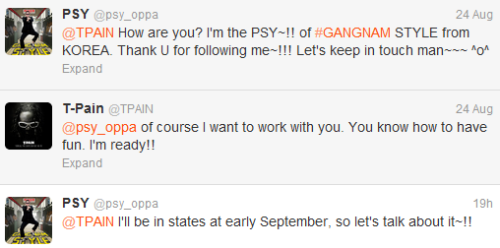 ygfamilyy:  PSY x T PAIN - 120824 Twitter Convo!  YES!~ My dream of a PSY and T-Pain collaboration looks like its coming true!