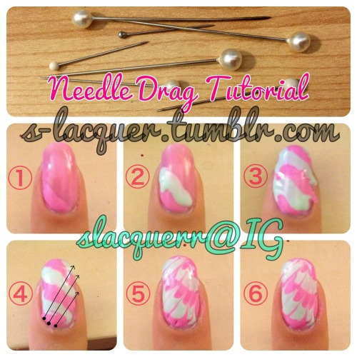 NEEDLE DRAG TUTORIAL You will need: two or more polishes and a needle! WARNING: Needing dragging is difficult to master, even I take several tries per nail. I recommend using polishes that aren't too runny, and don't dry too fast. You will need to look over this tutorial and know the steps because you need to work fast and have a steady hand, or the polish will dry, making it difficult to drag. Paint your base color, wait until it dries completely. Once dry, paint a small diagonal of Color 1. When paint diagonals, make sure to use polish generously.  Use Color 2 and paint a second diagonal above Color 1.  Continue painting diagonals, alternating colors. Don't worry if your polishes start to run off your nail bed…and remember to use an ample amount of polish!  You can leave your nail polish running off your nail, but I like to wipe it off real fast so I can avoid a lot of clean up. Quickly use your needle and drag the tip on the surface of the polish lightly using the paths shown. Start at the dot, and follow to the arrow.   As you can see, the results are beautiful! But I got a bit of balding from the sharp tip of the needle near my cuticle. To avoid this, use the needle to dab a bit of Color 1 back into the tiny bald spots.  Clean up with a brush and acetone, top with topcoat and you're good to go! If you don't have a needle, good alternatives are safety pins, a tiny brush dipped in acetone or toothpicks. I've personally never used a toothpick, but I hear it works just as well. Remember, you need to work quickly or you may not achieve the same results!