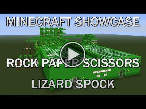 andiebarrington11:  Minecraft Showcase - Rock Paper Scissors Lizard SpockWelcome to another episode of our Minecraft Showcase series. We will be uploading weekly of our new builds in Minecraft. In this episode we show our rock, paper , scissors lizard spock game. We have included a betting system into the this build so whoever wins is rewarded with items. Aswell as a single player feature——————————-Hope you enjoyed the video if you did then be sure to subscribe for more!bit.ly/KneXHYThe rules of Rock-paper-scissors-lizard-Spock are:Scissors cuts paperPaper covers rockRock crushes lizardLizard poisons SpockSpock smashes scissorsScissors decapitates lizardLizard eats paperPaper disproves SpockSpock vaporizes rockRock crushes scissors——————————-Twitter:https://twitter.com/#!/iTsHutchyWe reply to all tweets——————————-Texture Pack:bit.ly/LgAjSiClick on the Thumbnail to watch the videoOr visit http://omg-celebrity-gossip.com/minecraft-showcase-rock-paper-scissors-lizard-spock/