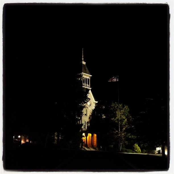 Walking through #campus at night. #building #flag #america #college #night #light  (Taken with Instagram)