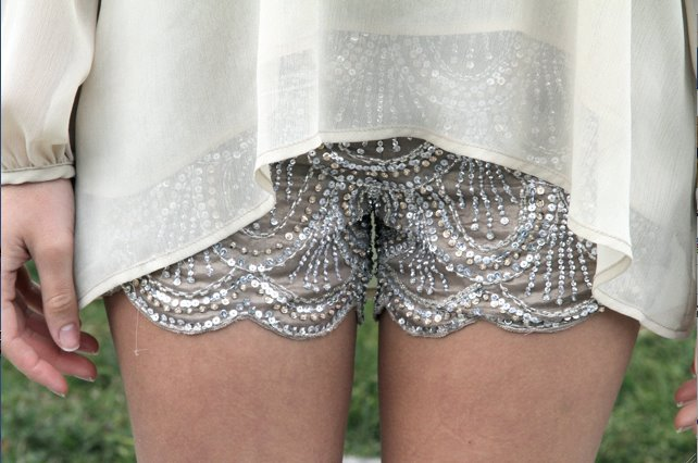 Kitson Scalloped Sequin Shorts  more: in http://www.facebook.com/OFFmagazine and http://offmag.blogspot.com.es/ and https://twitter.com/offmagacine and http://pinterest.com/offmagazine/