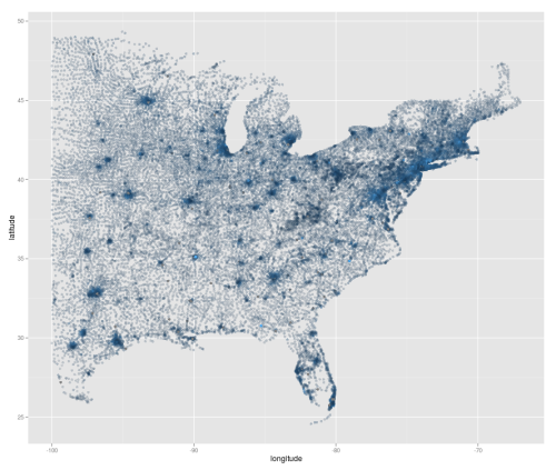 Economic geography of the eastern USA circa 1999, median incomes…