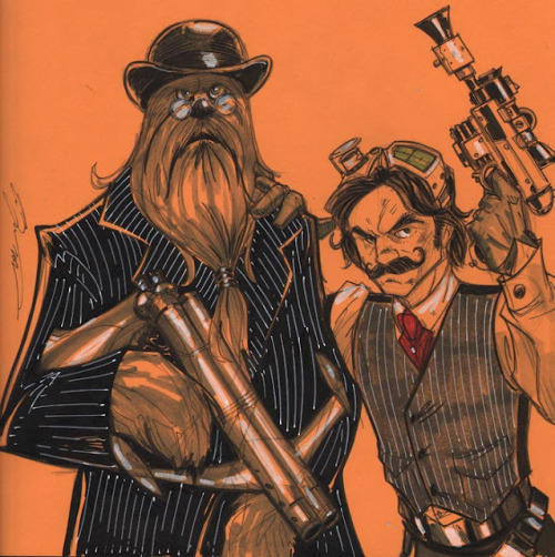 thehappysorceress:  Steampunk Han & Chewie by Tom Hodges