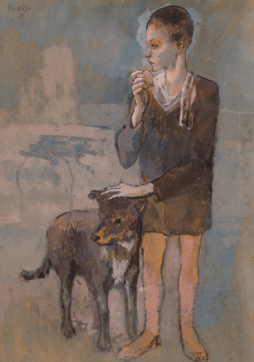 valscrapbook:  artpedia: Pablo Picasso, Boy with a Dog, 1905. Gouache on cardboard