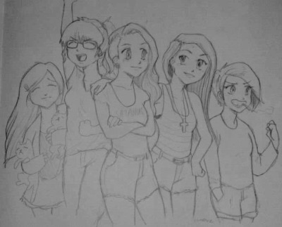 The Clan. (been feeling really anime lately) (left to right; Leah, Me, Rosalie, Jill and Emma)