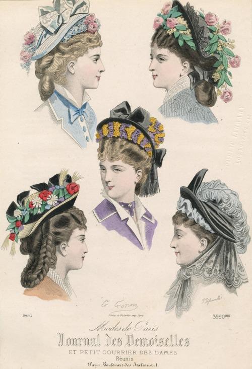 April bonnets, 1875 France, Journal des Demoiselles et Petit Courrier des Dames Réunis