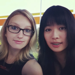 Julia and I waiting for the bus to go to Fan Expo! (I'm the blonde)