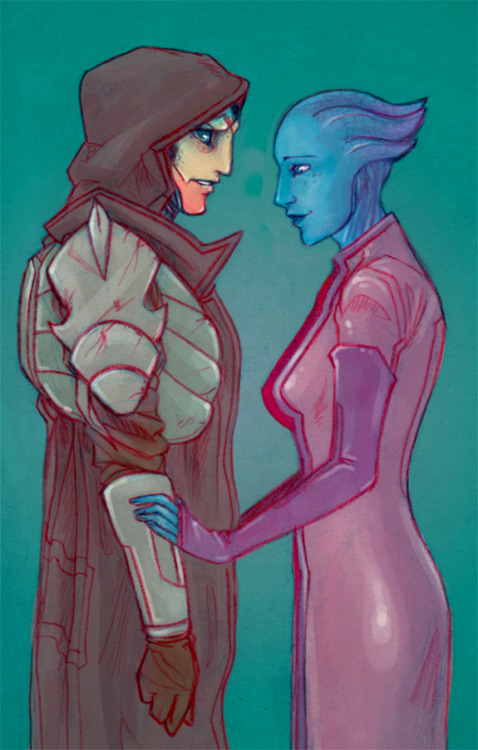 "iccara:   ""Partners? I don't know, Liara-"" ""We were that once. I need you, Feron. I can't do this by myself.""  Just a quick pencil sketch before bed :) And another excuse to doodle Feron I guess."