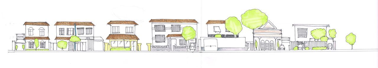 Section of Rua Diogo Moreira, Pinheiros, Sao Paulo, Brazil [My drawing for a project]
