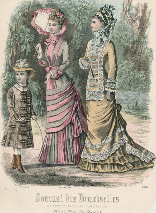 oldrags:  August fashions, 1877 France, Journal des Demoiselles et Petit Courrier des Dames Réunis