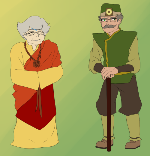 benderstuck:  Nanna is a member of the Southern Air Temple's Council of Elders.  Although her role in the community carries a great importance, she uses her sense of humor and adventure to keep things fun and upbeat, despite the troubling times.  She is a particularly adept prankster, and has taught her grandson John everything she knows about such trickery and japery.  Oh, and airbending, that too. Grandpa is a renown explorer and surveyor from the Earth Kingdom.  He has ventured throughout the entire world to record the geology and geography of each continent.  His work has contributed to many books, maps, and resources.  He now spends his retirement in Omashu with his granddaughter, Jade.  Although most of her family lives in an air temple, she decided to move to the Earth Kingdom with Grandpa, since he is the only earthbender in the family other than her.  She is the only person who has learned his special earthbending style. A/N:  Sorry for the long hiatus!  I'm back… temporarily.  I'll have to switch to a different internet provider soon, so there will be a second hiatus.  But, I'll post another guardian profile and a couple asks before that hiatus.