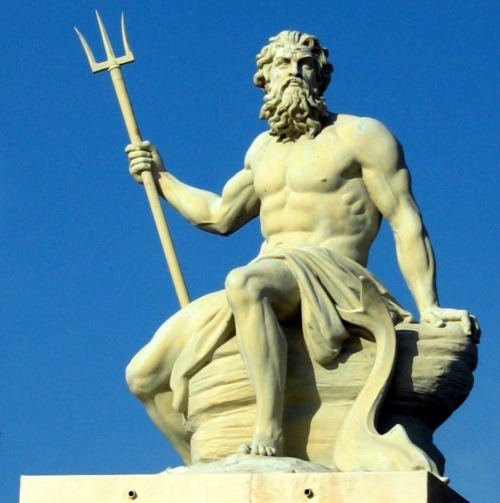 "abdulxvi:  Poseidon. Poseidon or Posidon (Greek: Ποσειδῶν) is one of the twelve Olympian deities of the pantheon in Greek mythology. His main domain is the ocean, and he is called the ""God of the Sea"". Additionally, he is referred to as ""Earth-Shaker"" due to his role in causing earthquakes, and has been called the ""tamer of horses"". The name of the sea-god Nethuns in Etruscan was adopted in Latin for Neptune in Roman mythology; both were sea gods analogous to Poseidon. Linear B tablets show that Poseidon was venerated at Pylos and Thebes in pre-Olympian Bronze Age Greece as a chief deity, but he was integrated into the Olympian gods as the brother of Zeus and Hades. There is a Homeric hymn to Poseidon, who was the protector of many Hellenic cities, although he lost the contest for Athens to Athena. 