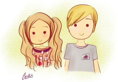 "marziacutiepie:  brozipans:  inspired by other fan art, I did some marzia and felix fan art on my iPad (lack of tablet :( )! c: this is them in the outfits they wore in the ""out with cutie: miramare castle"" video! I really hope you two like it, if you see it!! (゜。゜)  Adorable! *u*"