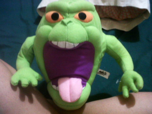 You know you've found the one when your 35 month anniversary gift is a Slimer plushie.