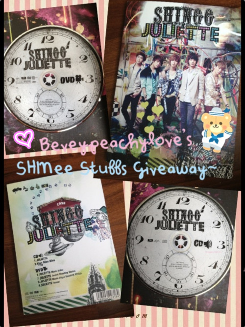 beveypeachylove:  So here it is…❥Beveypeachylove's SHINee Stuffs Giveaway~ ♡♡♡♡♡♡♡♡♡♡♡♡♡♡♡♡♡♡♡♡♡♡♡  I wanna make space for the B1A4 stuffs I'm gonna buy when I go to Seoul :3 & I thought I should show some love to my followers ;B ♡♡♡♡♡♡♡♡♡♡♡♡♡♡♡♡♡♡♡♡♡♡♡ What you'll get: ❥SHINee's JULIETTE (Jap ver.) CD+DVD ❥3 SHINee posters (from magazines) & 1 poster of the member of your choice ;D ♡♡♡♡♡♡♡♡♡♡♡♡♡♡♡♡♡♡♡♡♡♡♡ It'll be nice if you are following me especially if you like my blog, but I'm not gonna force you to follow me if you don't like what I post :3 Get what I mean? xx ♡♡♡♡♡♡♡♡♡♡♡♡♡♡♡♡♡♡♡♡♡♡♡ How to join: ~Like this post & this post then reblog this one once :) ♡♡♡♡♡♡♡♡♡♡♡♡♡♡♡♡♡♡♡♡♡♡♡ ~This gotta reach at least a hundred notes :b ♡♡♡♡♡♡♡♡♡♡♡♡♡♡♡♡♡♡♡♡♡♡♡ ~No giveaway blogs! ♡♡♡♡♡♡♡♡♡♡♡♡♡♡♡♡♡♡♡♡♡♡♡ ~Well you can be living on the other side of Earth, I'll try to ship it to you but it's better if you're living in Singapore :x ♡♡♡♡♡♡♡♡♡♡♡♡♡♡♡♡♡♡♡♡♡♡♡ Keep your ask box open so I can contact you if you win :] if there's no response after 48hours I'll pick another winner :d ♡♡♡♡♡♡♡♡♡♡♡♡♡♡♡♡♡♡♡♡♡♡♡ Winner will be picked by getcoffee.at ;) ♡♡♡♡♡♡♡♡♡♡♡♡♡♡♡♡♡♡♡♡♡♡♡ ❥Contest starts today (26th Aug '12) & ends in two months on 26th Oct '12 :3 ♡♡♡♡♡♡♡♡♡♡♡♡♡♡♡♡♡♡♡♡♡♡♡ Questions go here :)) ♡♡♡♡♡♡♡♡♡♡♡♡♡♡♡♡♡♡♡♡♡♡♡ Good luck~ヽ(*⌒ω⌒*)ノ~❥