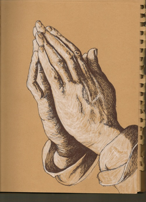 'praying hands (after albrecht durer)' - markers & pencil crayon