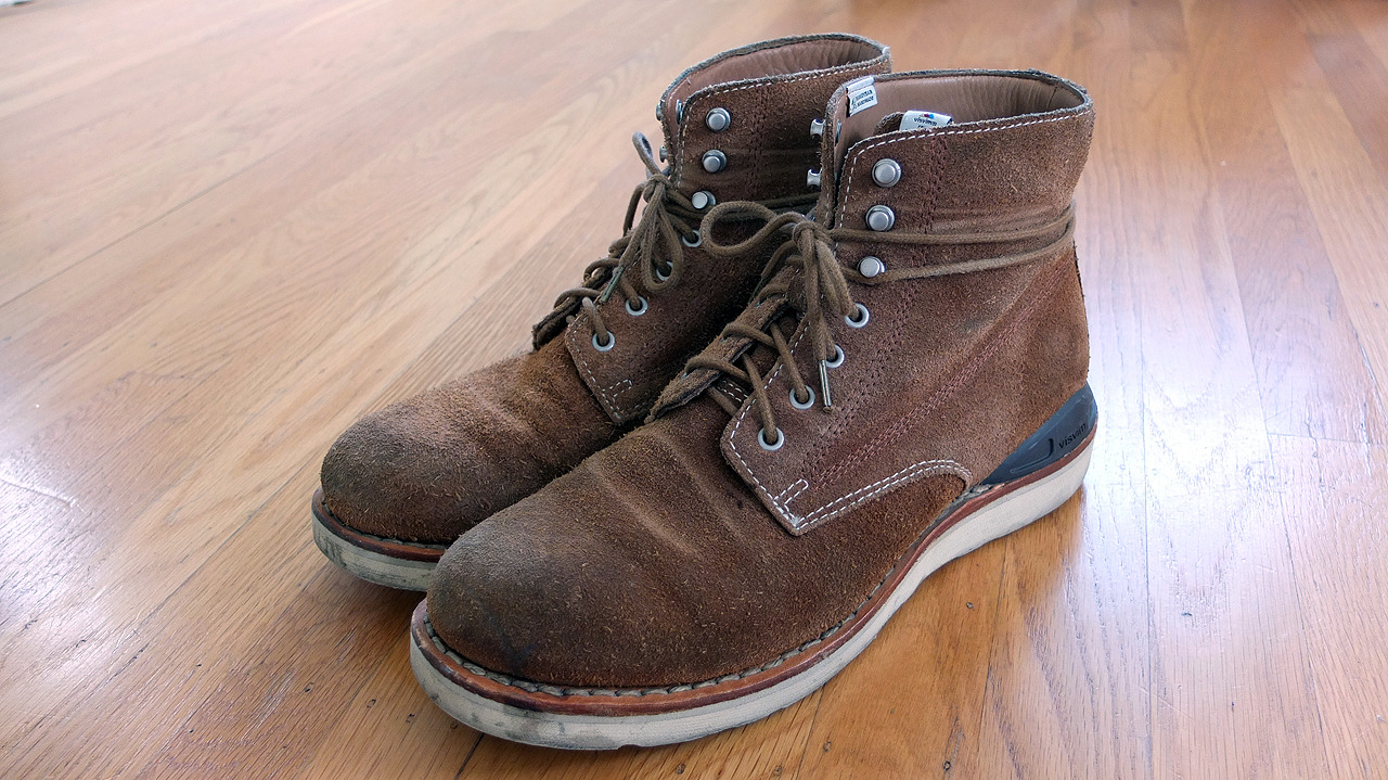 Visvim Virgil - Soft suede leather sewn into a Goodyear-welted Vibram sole. The Virgils have a very lean silhouette as far as boots go. A natural cork footbed with leather inserts make these incredibly comfortable. I bought my first pair in Japan in 2009 for around ¥55,000 and now new models retail over ¥90,500. Yikes. That being said, these are the best boots money can buy. ($1155.00)