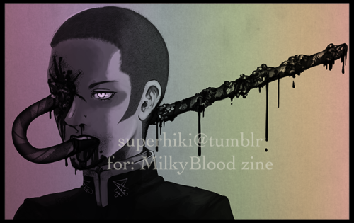 superhiki:  Preview of my entry for milky blood zine, what y'all think? It'll be in grey scale for the final, obviously…  i'm hungry but my teeth hurt and crazy drugs I can't take these anymore aaauugh