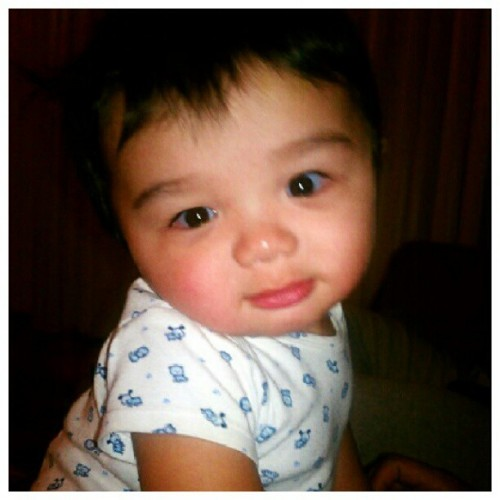 "Look who's #awake, #Baby #Jaesyn. #Adorable! :) he's looking at me like, ""who the hell are you?"" (Taken with Instagram)"