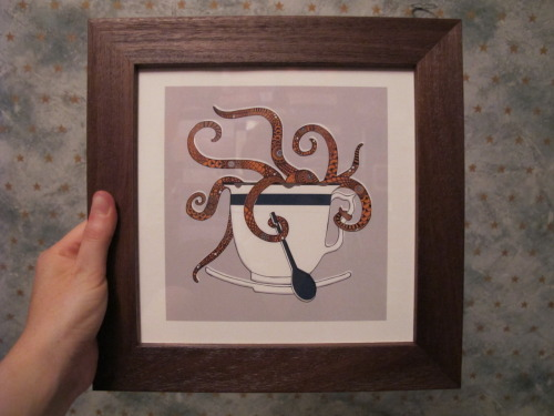 'Octopus in a Teacup' by Rachel Russell. Bought as a present for my sister some time ago. I have no idea if people actually like or appreciate the art I buy for them, but oh well.