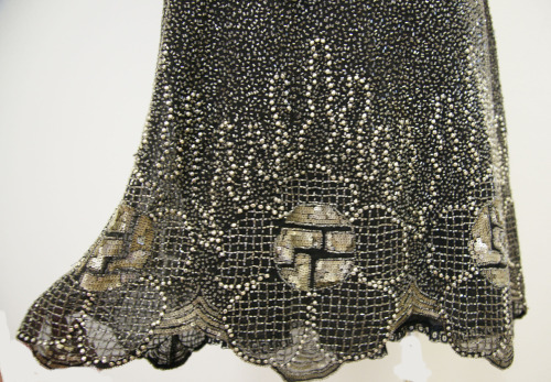 Hem of 1920s gown showing beadwork and sequin motif