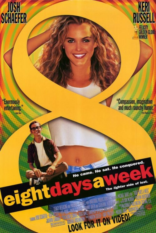 Eight Days a Week (1997)  Peter loves his next door neighbour Erica and, on the advice of his grandfather, decides to camp out on her front lawn for the entire summer, or until she agrees to go out with him. His father is none too happy about the idea and refuses to let his son back in the house, even to get a change of clothes. Peter's friend, Matt, thinks Peter should give up on women (like he has) and just have sex with fruit, and have a total devotion to masterbation.  Cast: Joshua Schaefer, Keri Russell, R.D. Robb Follow this blog for the neverending list of all the teen movies ever made!