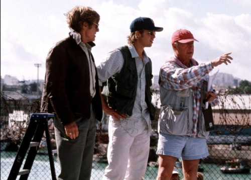Robert Redford, Brad Pitt and Tony Scott on-set of Spy Game (2001)