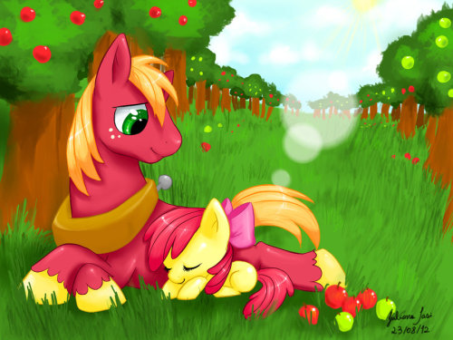 xenofim:  Apple Family - Big McIntosh and Apple Bloom by *juaiasi