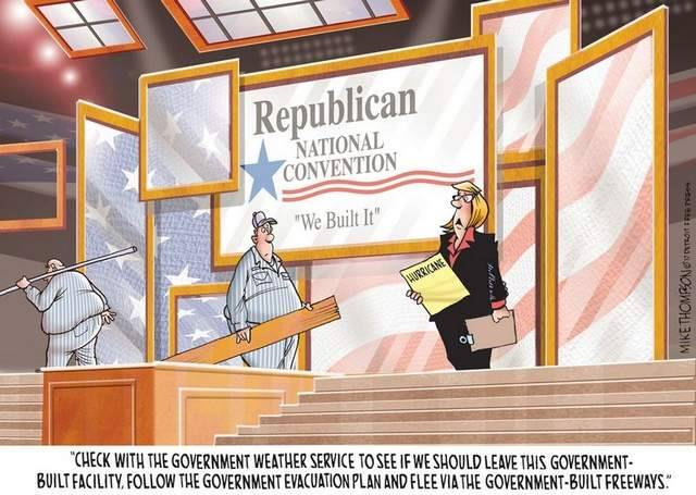 "Republican hypocrisy over recent ""We Built This"" comments and campaign slogan. Priceless!"