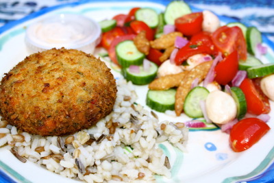 Last Night's Dinner: Salmon Cake on Wild Rice & Quinoa with a Tomato, Cucumber, and Boccaccini salad.