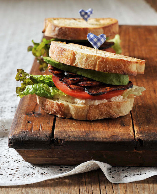 A perfect spin on the old bacon, lettuce and tomato sandwich.  YUM!