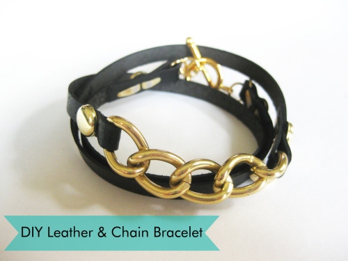 thanksimadeit:  DIY Leather and Chain Wrap Bracelet, from Thanks, I Made It   Truebluemeandyou: Thanks, I Made It is one of my favorite DIY jewelry blogs (have I mentioned the Morse Code necklace I saw there first a million times?). She uses a leather punch (I have this tool and it cost about $15 and I use it all the time), but also brass paper fasteners. For her Morse Code necklaces (and my imitation) and a Morse Code bracelet from Teahab go here: truebluemeandyou.tumblr.com/tagged/morse-code