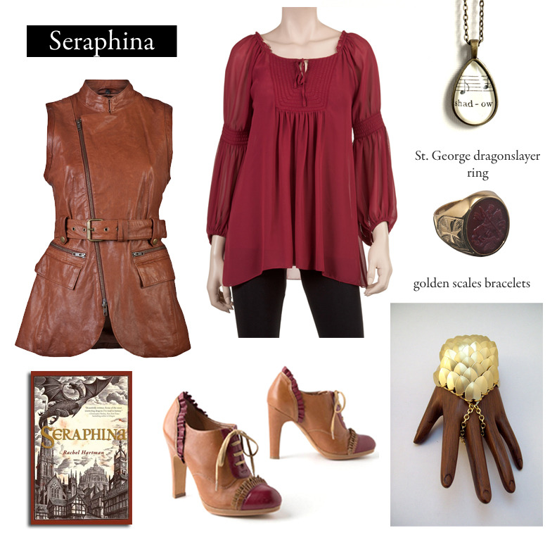 "Outfit inspired by Rachel Hartman's Seraphina. ""Sometimes the truth has difficulty breaching the city walls of our beliefs. A lie, dressed in the correct livery, passes through more easily.""  Sleeveless Leather Vest 