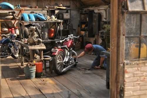 Took a photo of Brad working on his dad's old Triumph in the garage on the weekend. I then climbed into the loft and took a photo of his bench space. A little untidy.   Nah, I'm full of $%&#, these pics are of a minature workshop.  Make the jump to see heaps more jaw dropping pics. Like us on FB
