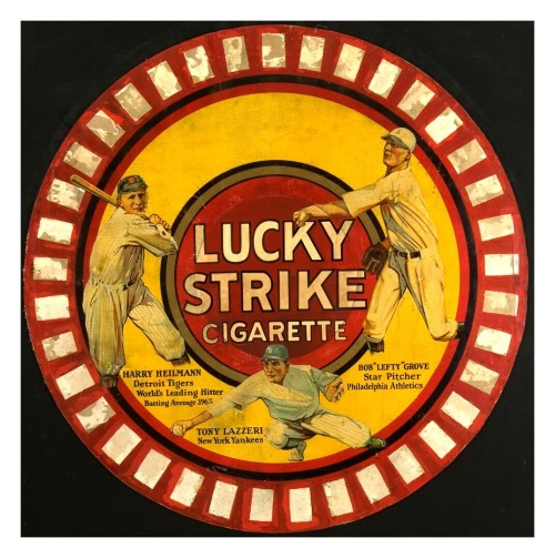 "1920's Lucky Strike Circular Poster Ad Harry Heilmann, Tony Lazzeri & Bob ""Lefty"" Grove"
