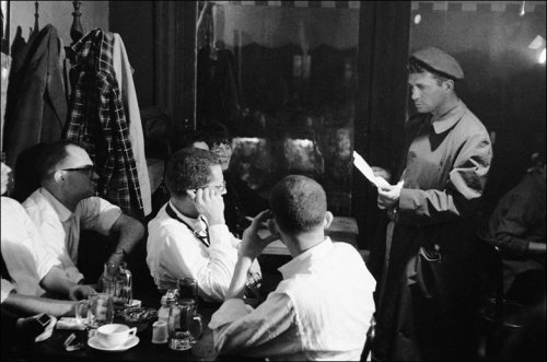 Jack Kerouac is pictured here reading at the Seven Arts Cafe in New York.