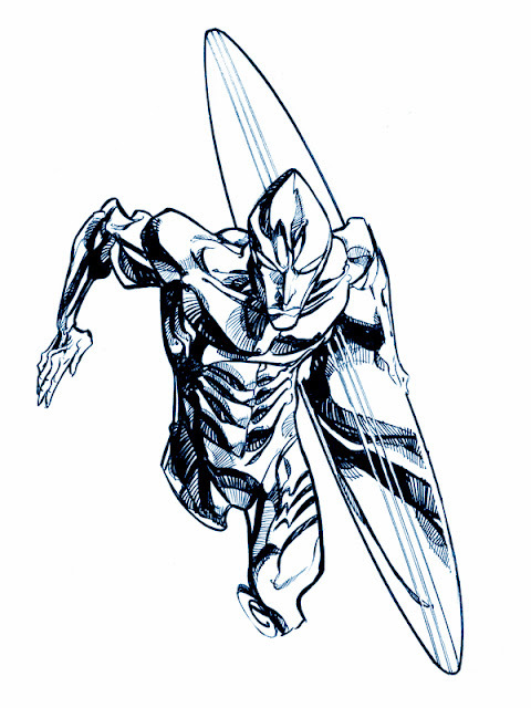 Silver Surfer, by Eric Canete. Canete gives the Surfer a real inhuman quality.