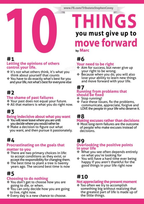 alittlebitoftrish:  10 THINGS YOU MUST GIVE UP TO MOVE FORWARD.