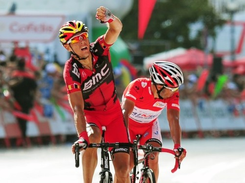 fuckyeahcycling:  Vuelta a Espana 2012 | Stage 9 PhilGil clocks up his first win of the season (bit of a difference from last year, eh?) as Rodriguez turns to check what sort of a gap he has on Froome and Contador. (via Photo from Getty Images)  The boss is back!
