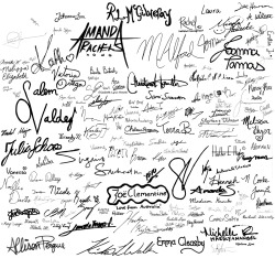 purpleandorangesheep:  Hey guys look! It's the signatures for the T-shirt for Tom Project! I finally finished my half of the signatures (ie. Putting them on a clear background for easy manipulation.) Not as fast as say-it-from-the-rooftops, but it's done!  I don't even know how many signatures I edited.  You may or may not be able to see your signature on this file (it's a little messy, i know). Also, the size of your signature on this file does not reflect what size it will be on the t-shirt. Just in case some of you were wondering.  Now the two of us can finally get around to settling on a design for the shirt.  For those who don't already know what this project is about, please go here for more information. Unfortunately, we are no longer accepting new signatures as the deadline has been reached. However, if there are new opportunities for you to get involved, you can bet that we will keep you posted.  For those who did submit your signatures, we look forward to presenting you with the design that incorporates your signatures.  Till then, Purpleandorangesheep    Oh yes, the person that I'm working with is simply EPIC. Look at this! :D  So it's official, all the signatures are edited! Can you spot yours?