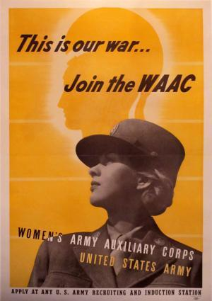 "Vintage Poster: THIS IS OUR WAR… JOIN THE WAACWOMEN'S ARMY AUXILIARY CORPS Circa: 1943Origin: United StatesBuy It Here: http://www.la-belle-epoque.com/vintage-poster/Patriotic—-WWI—-WWII/1746/THIS-IS-OUR-WAR——JOIN-THE-WAAC-BR-WOMEN-S-ARMY-AUXILIARY-CORPS In honour of women""s equality day we are sharing this 1943 poster for the WAAC. Although women's army units were separate and secondary to the men's the experience helped give many women a new confindence. Many women began to see that they were equally capable."