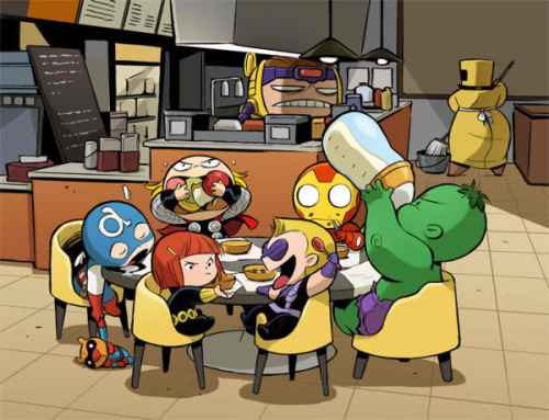 agentmlovestacos:  Avengers Babies art by Gurihiru. A-Babies Vs. X-Babies will be the ultimate.   Omg that is MODOK in the back.