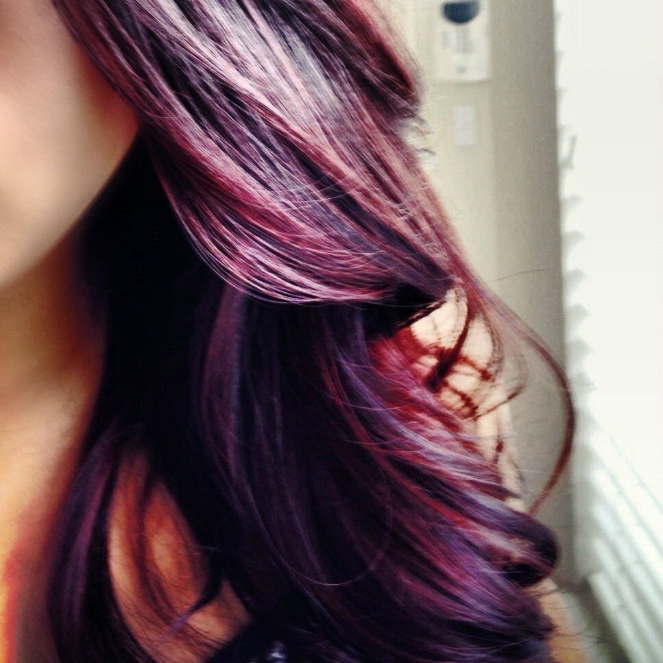 Burgundy and plum color hair