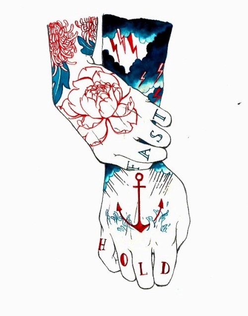 Lotte Hobbs, Hold Fast. Ink & poster paint on paper.