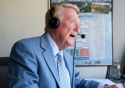 Vin Scully will be back in the booth next season: The legendary Dodgers broadcaster has been the sound of summer in Southern California for more than half a century. We are blessed to be able to pull up a chair and spend part of another year with him. Photo: Vin Scully. Credit: Gary Friedman / Los Angeles Times