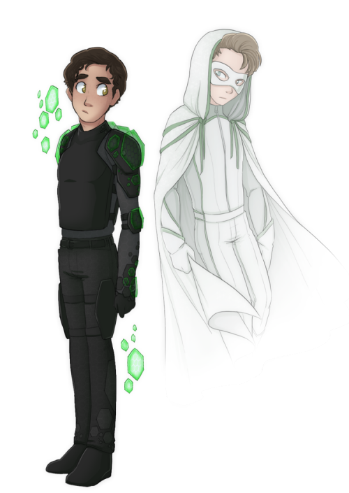 theplaylistismagic:  Costume Concepts - The Ghost and his as-of-yet unnamed companion. (Shadow? Shield?) Love ya Spooky! (From Rainjoy's Superhero AU)